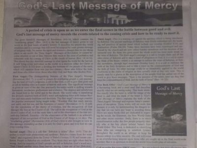 Present Truth Message published in the Orlando Sentinel Newspaper